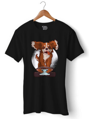 Cavalier Skating Dog Men's Round Neck Regular Fit T-Shirt