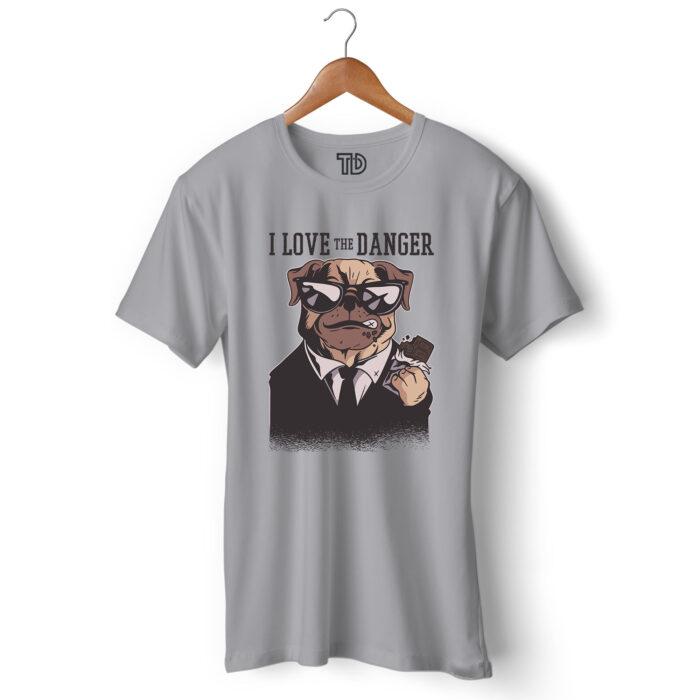 Love Danger Dog Men's Round Neck Regular Fit T-Shirt