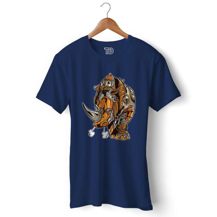 Steampunk Rhino Men's Round Neck Regular Fit T-Shirt