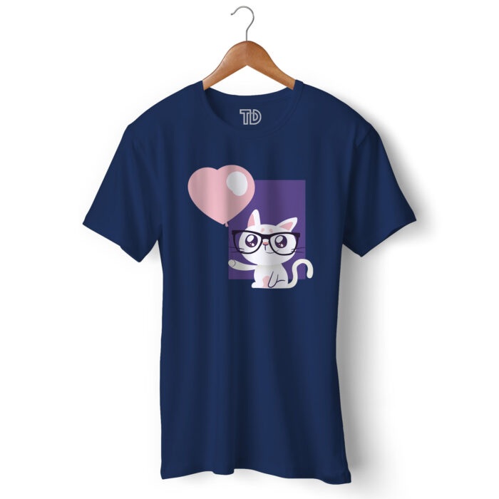 Cat With Balloon Men's Round Neck Regular Fit T-Shirt