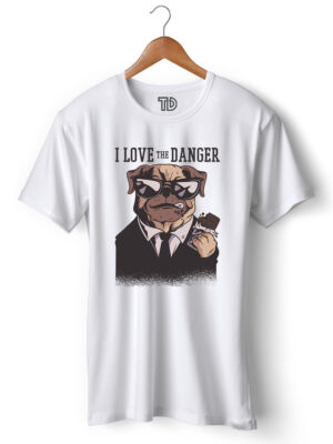 Love Danger Dog Men's Round Neck Regular Fit T-Shirt