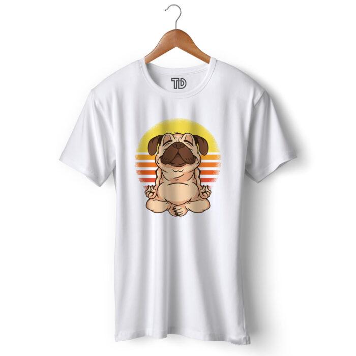 Yoga Pug Men's Round Neck Regular Fit T-Shirt
