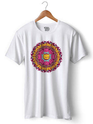 Cat Mandala Men's Round Neck Regular Fit T-Shirt