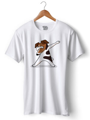 Terrier Dog Dab Men's Round Neck Regular Fit T-Shirt