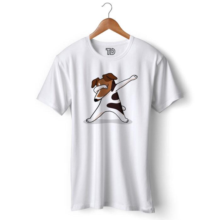 Terrier Dog Dab Men's Round Neck Regular Fit T-Shirt