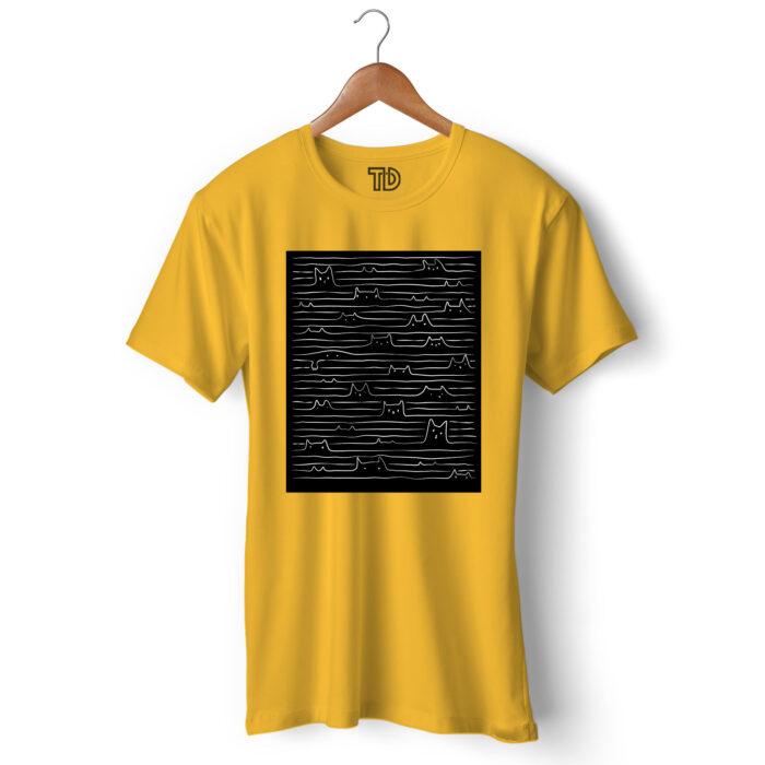 Doodle Cats Men's Round Neck Regular Fit T-Shirt