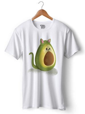 Avocado Cat Men's Round Neck Regular Fit T-Shirt
